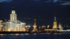Kunstkamera, Rostral column, Peter and Paul fortress. St.Petersburg, Russia. Stock Footage