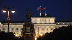 Mariinsky palace (with Russian and St.Petersburg flags). St.Petersburg, Russia. Stock Footage
