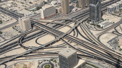 city traffic of Dubai from the tallest building in the world, Burj Khalifa - stock footage