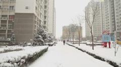Dwelling buildings in snowing Stock Footage