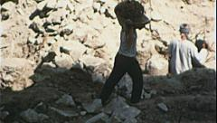 CONSTRUCTION Workers Heavy Labor Egypt 1970s Vintage Film Home Movie 7387 Stock Footage