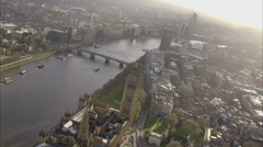 Panoramic aerial view above the city of London and the river thames. - stock footage
