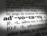 Stock Photo of Dictionary - Advocacy - Black On White