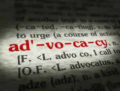 Dictionary - Advocacy - Red On BG - stock photo