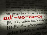 Stock Photo of Dictionary - Advocacy - Red On BG