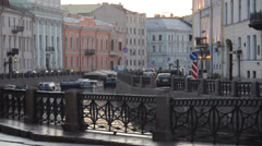 Moyka river embankment near Palace square. St.Petersburg, Russia Stock Footage