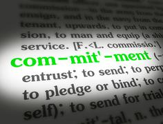 Dictionary - Commitment - Green On White - stock illustration