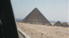 Drive By PYRAMIDS of Egypt Giza Ancient 1980s Vintage Film Home Movie 7395 Stock Footage