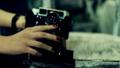 The girl shot on old vintage photocamera Stock Footage