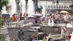 Crowded Manezhnaya Square with fountains. Moscow. Stock Footage