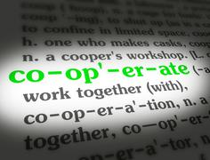 Dictionary - Cooperate - Green On White Stock Photos