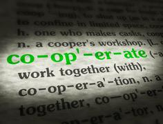 Dictionary - Cooperate - Green On BG Stock Photos