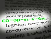Stock Illustration of Dictionary - Cooperation - Green On White