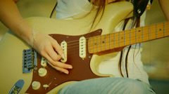 Guitar accord. Old movie Stock Footage