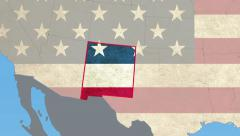 New Mexico map pull out, flat USA map zoom in, all states available Stock Footage