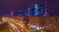 Night city view, Moscow, time-lapse. HD Footage