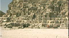 Base of GREAT PYRAMIDS of Egypt Giza Egyptian 1980s Vintage Film Home Movie 7402 - stock footage