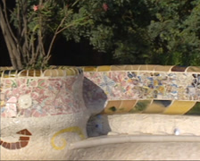 Serpentine bench on the main terrace in Parc Guell by Antoni Gaudi y Cornet. Stock Footage