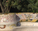 Stock Video Footage of serpentine bench on the main terrace in Parc Guell by Antoni Gaudi y Cornet.