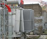 Stock Photo of electric voltage transformer of a powerful power plant
