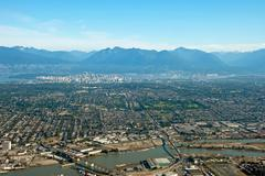 Aerial view of vancouver downtown city in british columbia Stock Photos