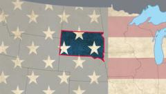 South Dakota pull out, smooth USA map, all states available, click for HD - stock footage