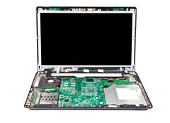 laptop half disassembled front view - stock photo