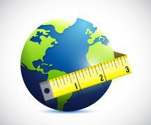 Stock Illustration of globe and measure tape illustration design