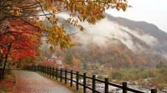 Autumn. Mountain hotel on the banks of the river. Stock Footage