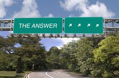 the answer written on highway sign - stock photo