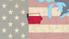 Iowa pull out, smooth USA map, all states available, click for HD - stock footage