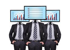 businessmans and monitor - stock illustration