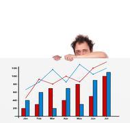 Unhappy men and chart Stock Photos