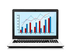 Stock Illustration of laptop with chart