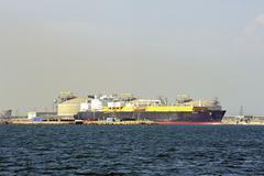 quay methane tanker to discharge - stock photo
