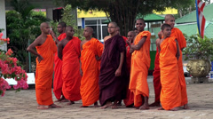 A group of young Buddhist monks. Stock Footage
