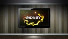 Money Text in Monitor, Open with Finger Click Stock Footage