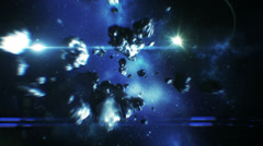 Beautiful flight in space near Asteroids collisions. HD 1080. Stock Footage