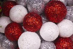 Red, white and silver christmas balls background Stock Photos