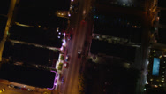 Stock Video Footage of Wide birdseye aerial shot following Collins Avenue through South Beach