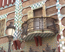 Stock Video Footage of pan tiled facade Casa Vicens, balcony, wrought ironwork  by Antoni Gaudi