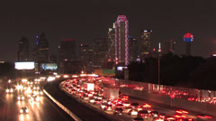 Dallas Skyline Time-lapse in holiday red at night Stock Footage