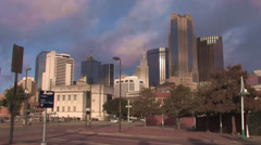 Dallas Skyline from farmers market timelapse with nice clouds - stock footage