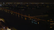 Stock Video Footage of Wide aerial shot of medium traffic on the MacArthur Causeway, pan camera right