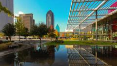 Dallas Skyline reflection panning time-lapse & arts building Stock Footage