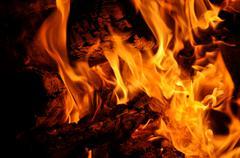 campfire embers - stock photo