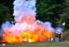 civil war re-enactment - explosion - stock photo