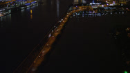 Stock Video Footage of Wide aerial shot following medium traffic on the MacArthur Causeway, tilt up
