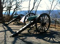 Dual cannons on lookout mountain Stock Photos