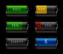Set of battery level icons Stock Illustration